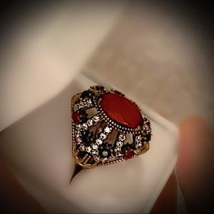 Other - RUBY EMERALD FINE ART RING Size 10 Solid 925/Gold